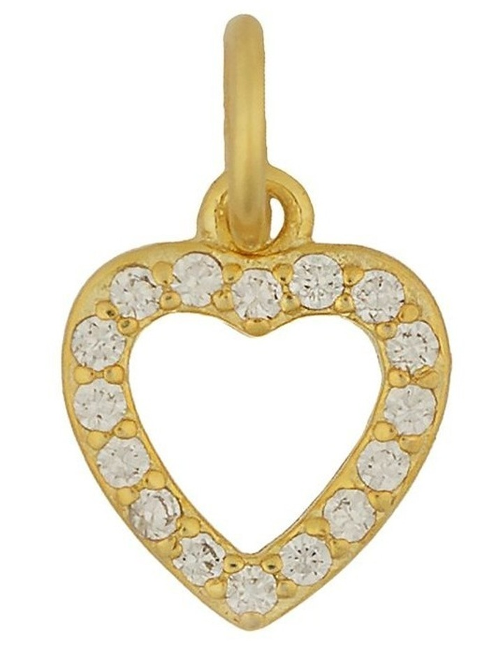 Sterling Silver Open Heart Charm - Light Gold image 1