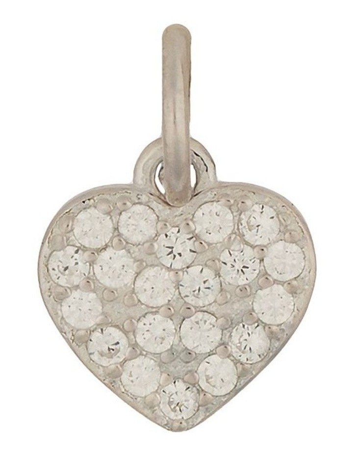 Sterling Silver Cubic Zirconia Heart Charm - Silver image 1