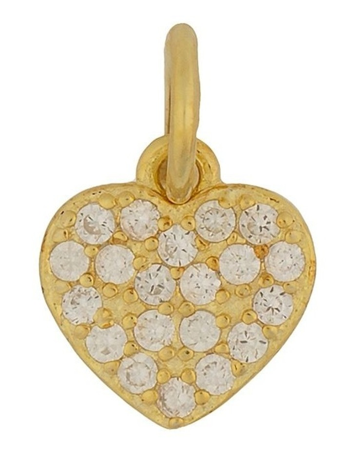 Sterling Silver Cubic Zirconia Heart Charm - Light Gold image 1
