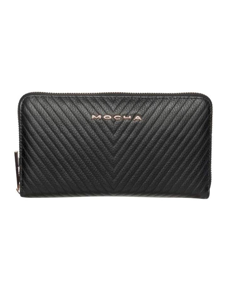 Large Chevron Leather Wallet- Black image 1