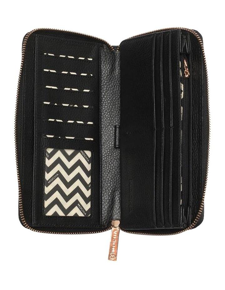 Large Chevron Leather Wallet- Black image 2