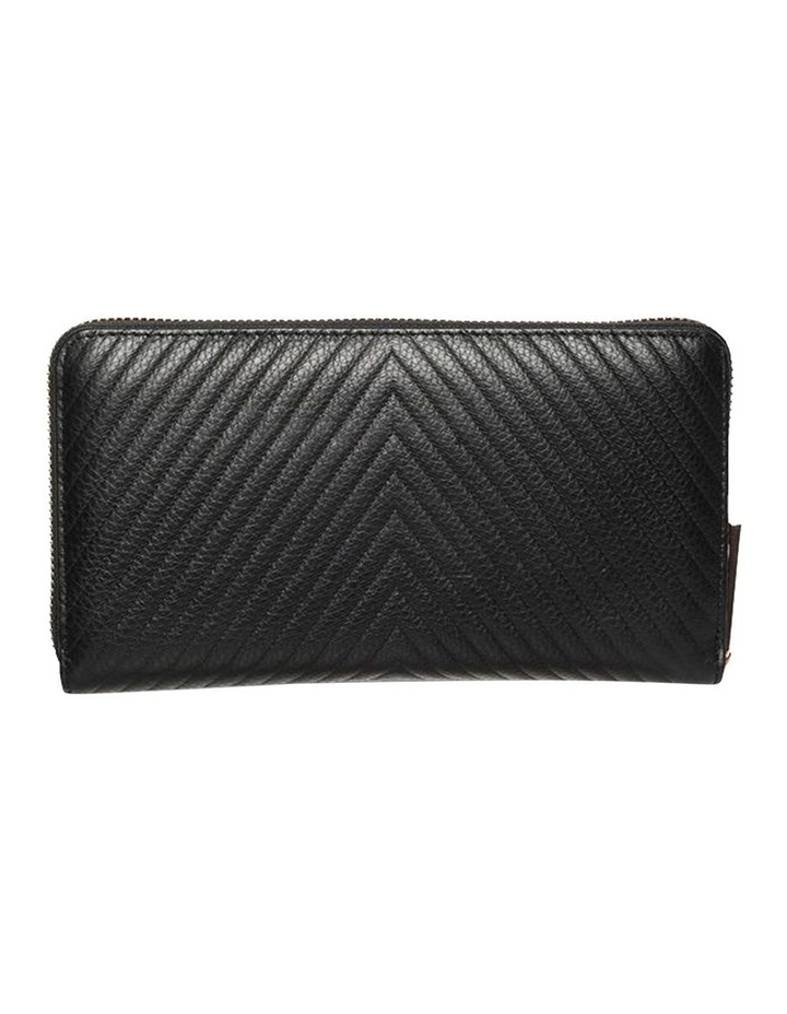 Large Chevron Leather Wallet- Black image 3