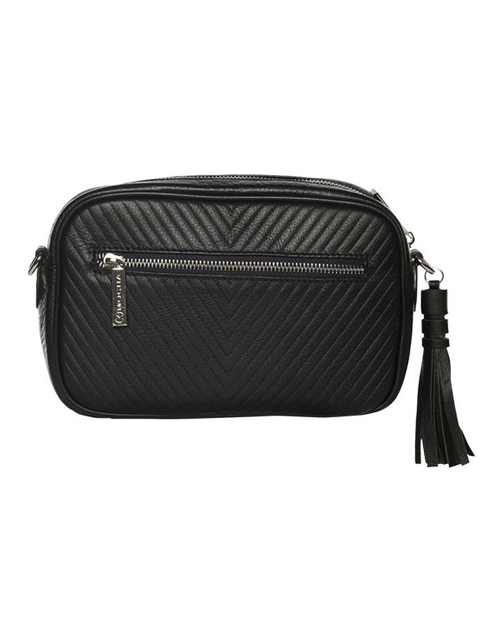 Chevron Box Leather Crossbody Bag - Black image 1