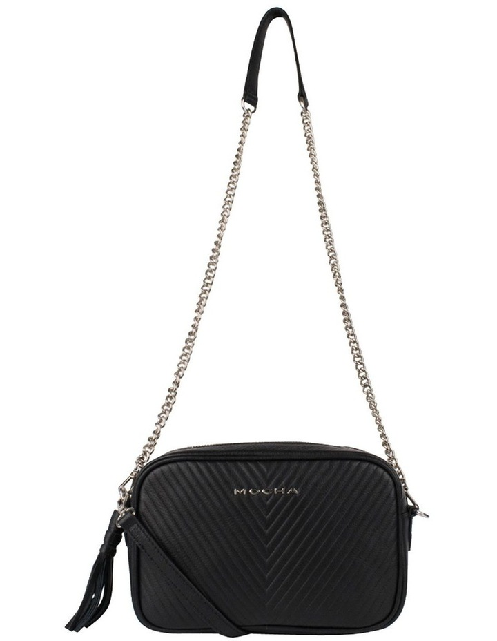 Chevron Box Leather Crossbody Bag - Black image 2