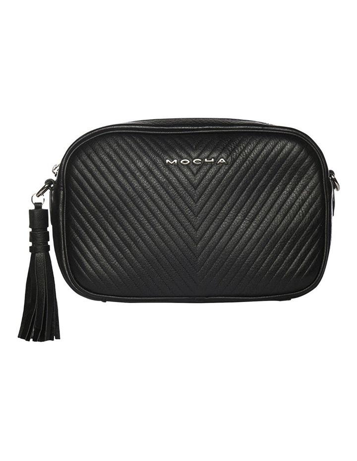 Chevron Box Leather Crossbody Bag - Black image 3