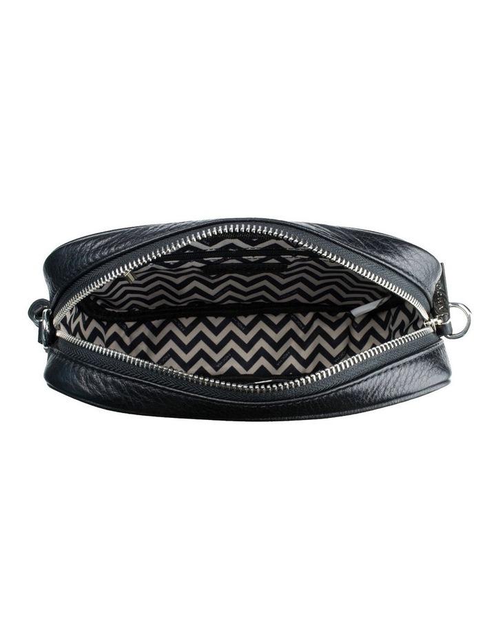 Chevron Box Leather Crossbody Bag - Black image 4