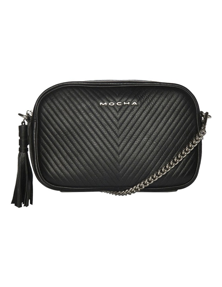 Chevron Box Leather Crossbody Bag - Black image 5