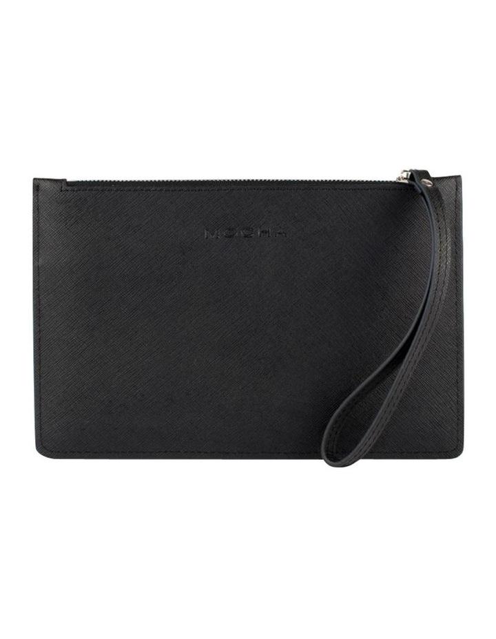 Large Jane Leather Clutch - Black image 1