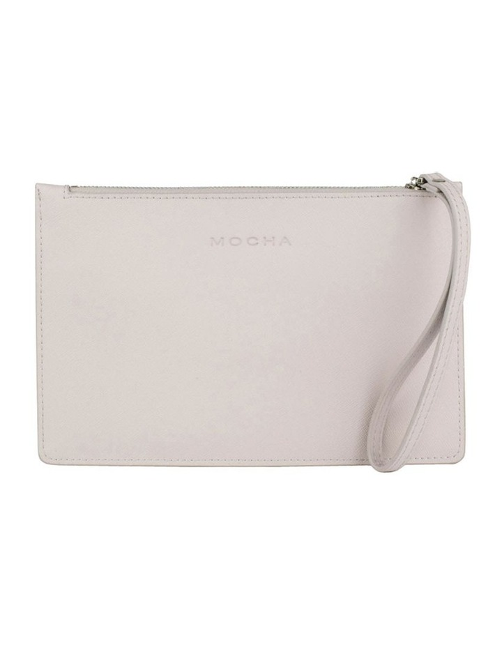 Large Jane Leather Clutch - Grey image 1