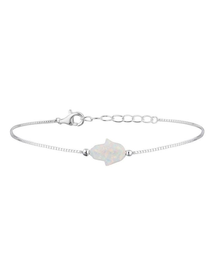 Sterling Silver Mini Hamsa Fine Bracelet - White image 1
