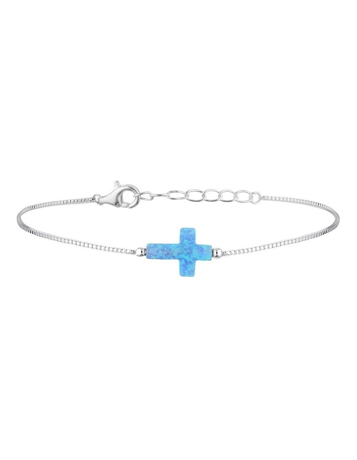 Sterling Silver Mini Cross Fine Bracelet - Light Blue image 1