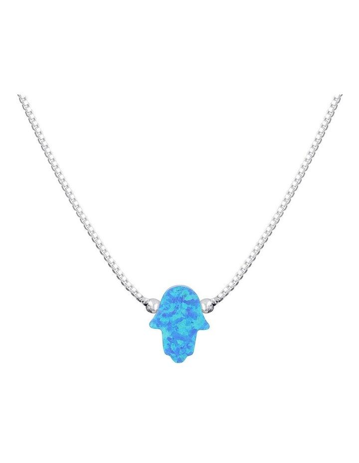 Sterling Silver Mini Hamsa Fine Necklace - Blue image 1
