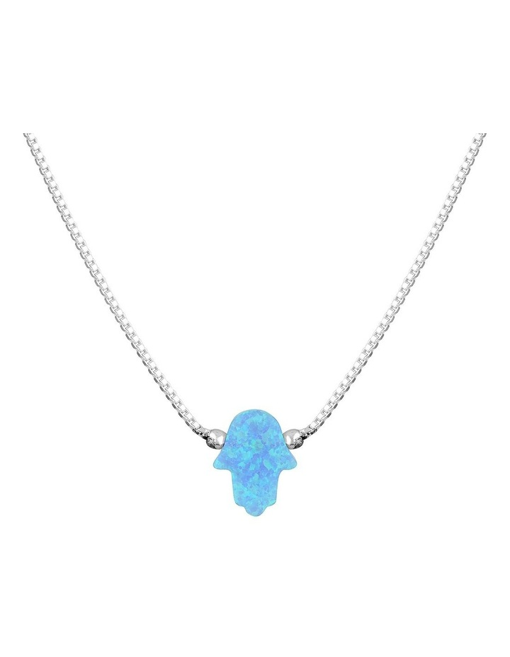 SS Mini Hamsa Fine Necklace-Light Blue image 1