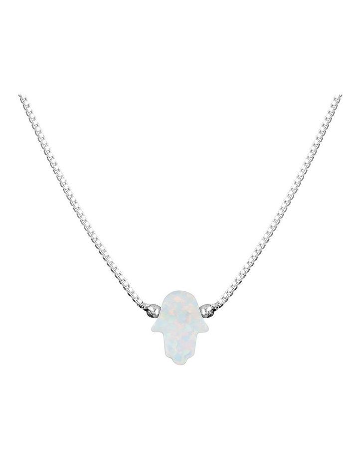 Sterling Silver Mini Hamsa Fine Necklace - White image 1