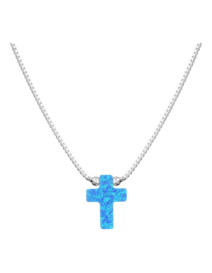 SS Mini Cross Fine Necklace-Blue image 1