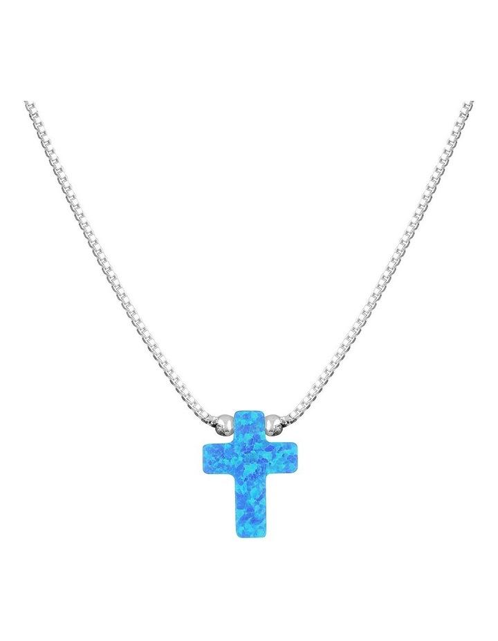 SS Mini Cross Fine Necklace-Blue image 1