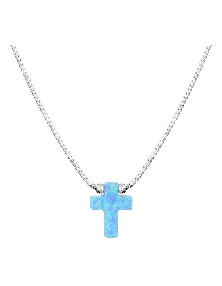 SS Mini Cross Fine Necklace-Light Blue image 1