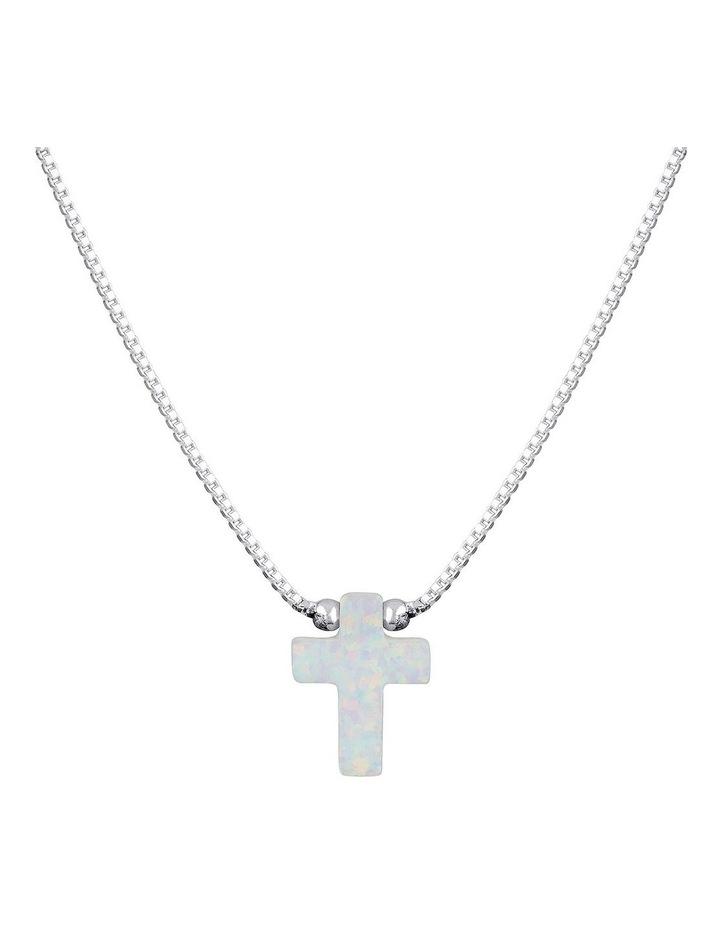 SS Mini Cross Fine Necklace-White image 1
