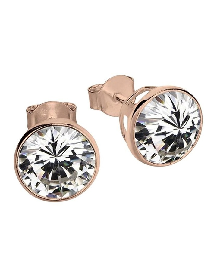 SS 4mm Round Crystal Stud Earrings-Rosegold image 1