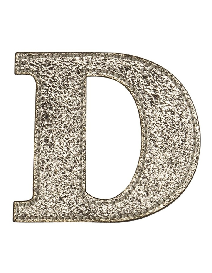 Leather Initial Sticker Patch- D Gold image 1