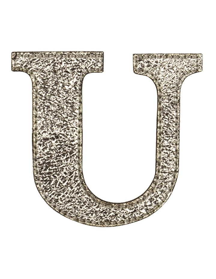 Leather Initial Sticker Patch- U Gold image 1