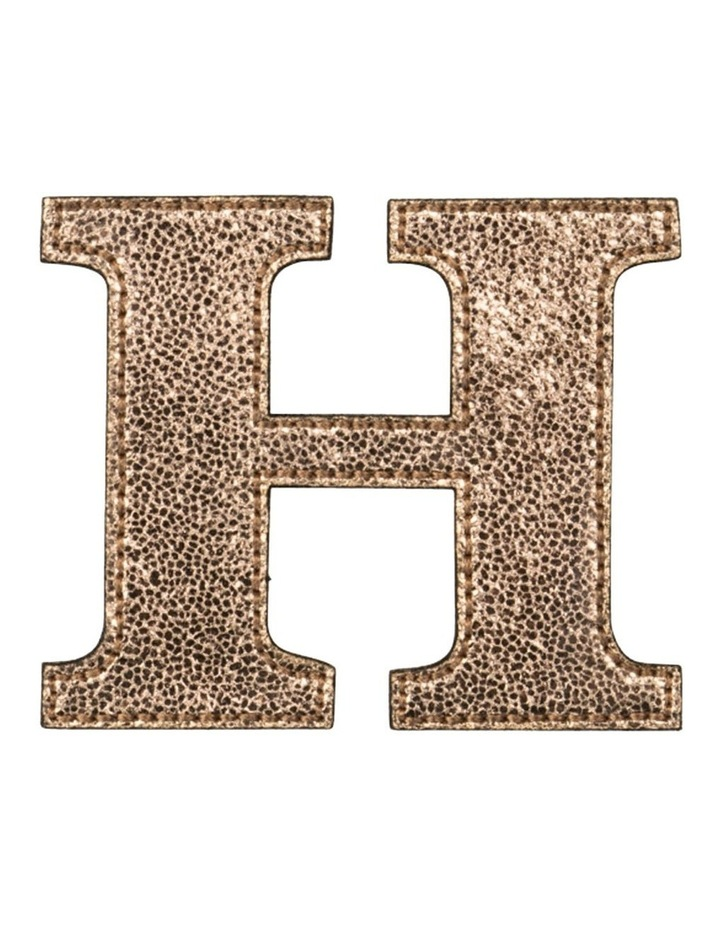 Leather Initial Sticker Patch- H Rosegold image 1