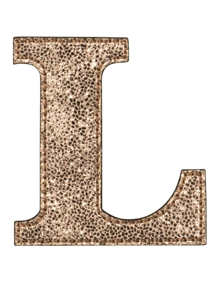 Leather Initial Sticker Patch- L Rosegold image 1