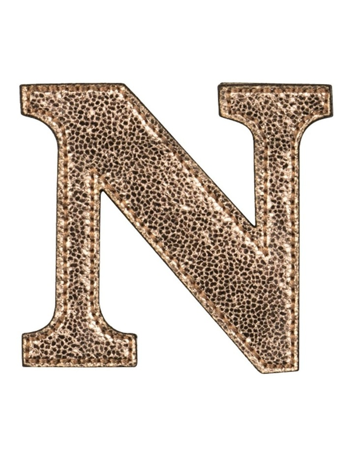 Leather Initial Sticker Patch- N Rosegold image 1