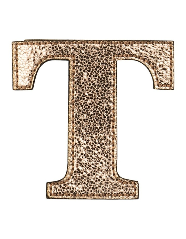 Leather Initial Sticker Patch- T Rosegold image 1