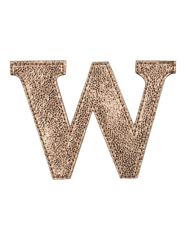 Leather Initial Sticker Patch- W Rosegold image 1