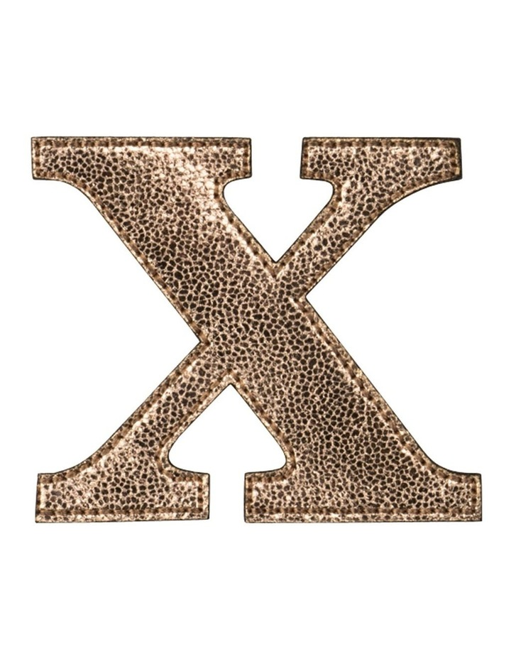 Leather Initial Sticker Patch- X Rosegold image 1