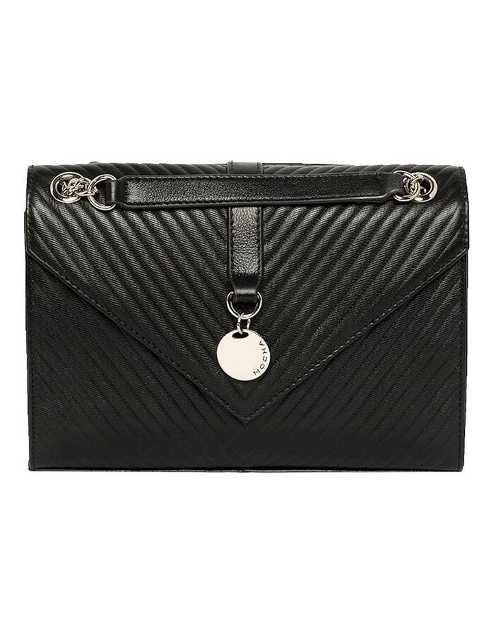 Chevron Envelope Leather Crossbody Bag - Black image 1