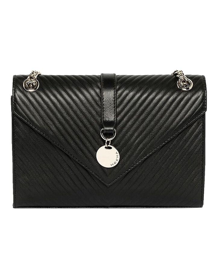 Chevron Envelope Leather Crossbody Bag - Black image 2