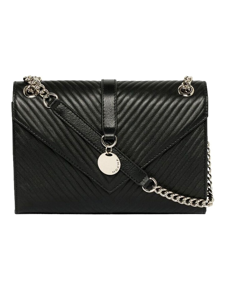 Chevron Envelope Leather Crossbody Bag - Black image 3