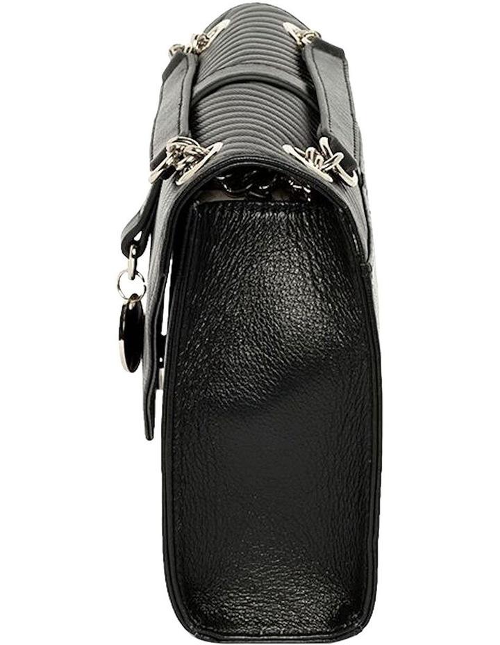 Chevron Envelope Leather Crossbody Bag - Black image 4