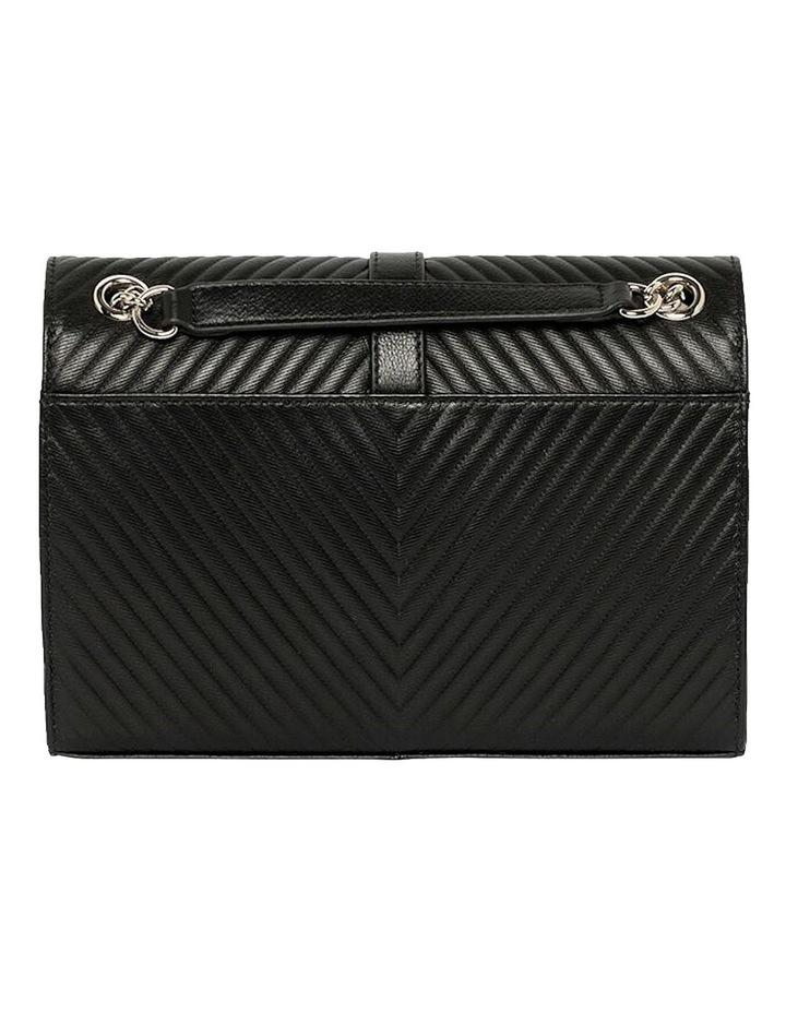 Chevron Envelope Leather Crossbody Bag - Black image 5