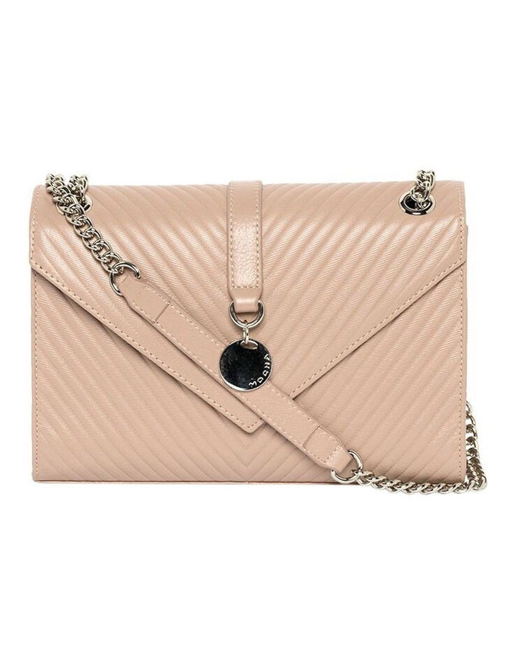 Chevron Envelope Leather Crossbody Bag - Taupe image 3