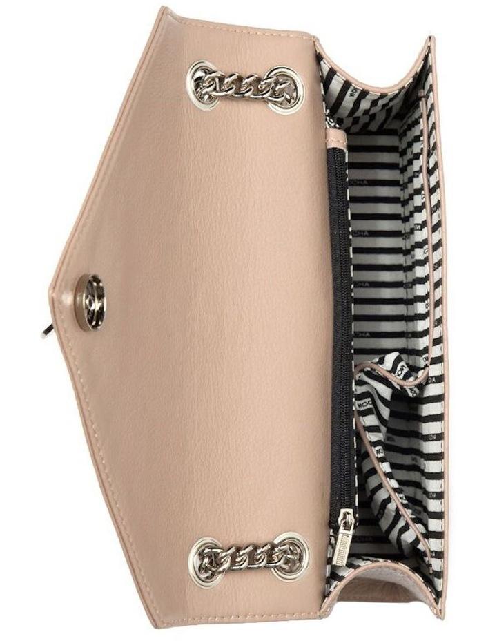 Chevron Envelope Leather Crossbody Bag - Taupe image 4