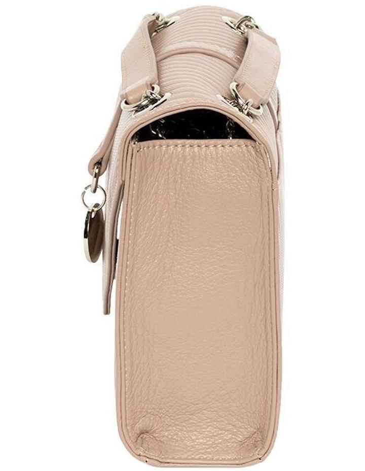 Chevron Envelope Leather Crossbody Bag - Taupe image 5