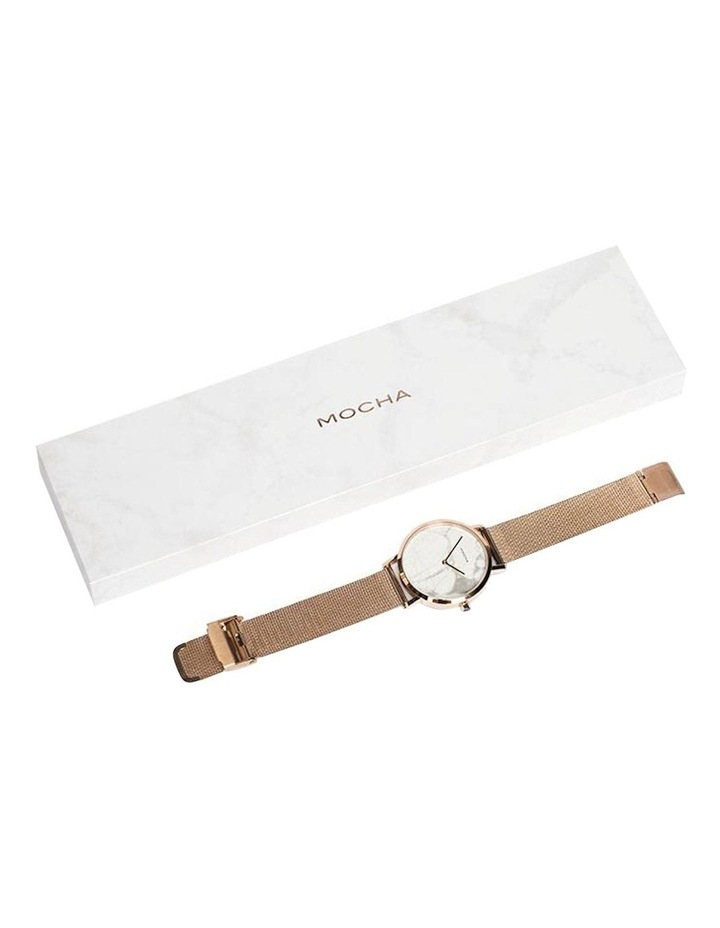 38mm Marble Watch - White/Rose Gold Mesh image 2