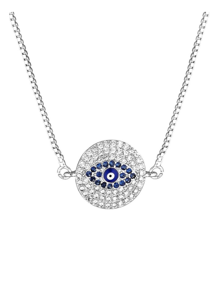 Evil Eye Round Necklace - Silver image 1