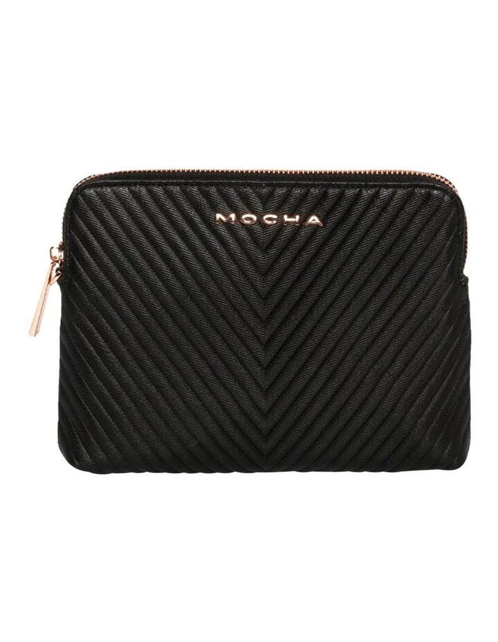 Chevron Zip Around Leather Clutch - Black image 2