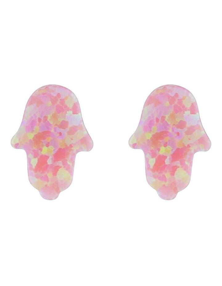 Sterling Silver Mini Hamsa Stud Earrings - Pink image 1