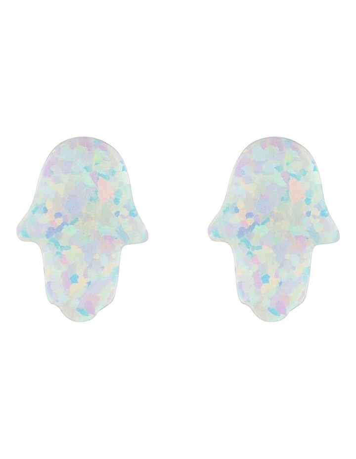 Sterling Silver Mini Hamsa Stud Earrings - White image 1