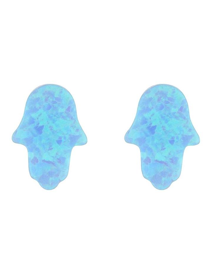 Sterling Silver Mini Hamsa Stud Earrings - Light Blue image 1