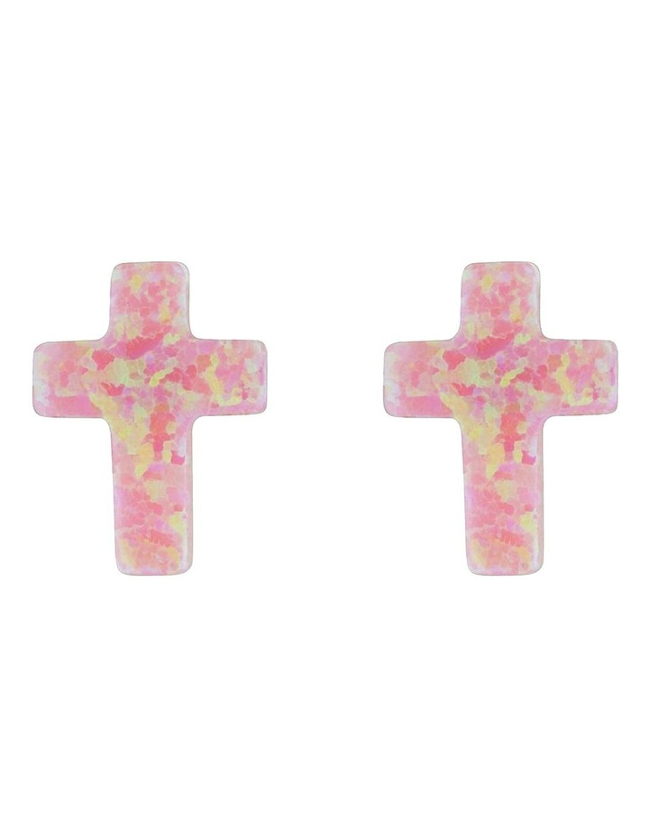 Sterling Silver Mini Cross Stud Earrings - Pink image 1