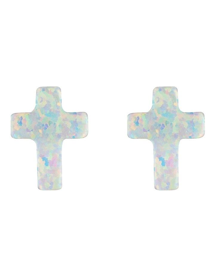 Sterling Silver Mini Cross Stud Earrings - White image 1