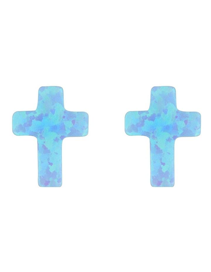 Sterling Silver Mini Cross Stud Earrings - Light Blue image 1