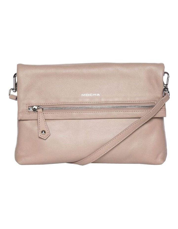 Bella Foldover Leather Crossbody Bag - Taupe image 2