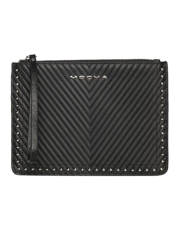 Chevron Stud Leather Clutch-Black image 1